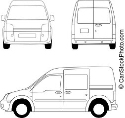 Delivery van line illustration