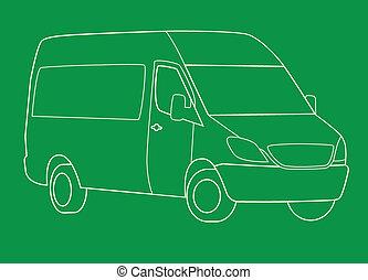Delivery van line illustration on green background.