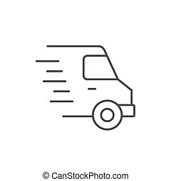 Delivery van line outline icon
