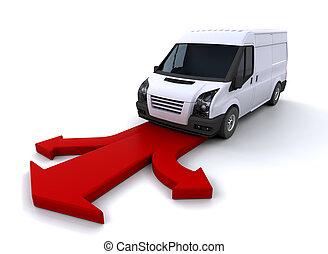 Delivery van on arrows