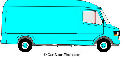 delivery van on white background.