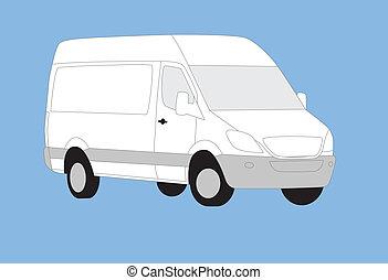 Delivery van simple illustration.