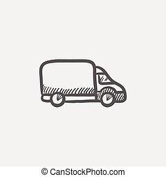 Delivery van sketch icon