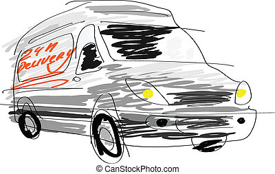 Delivery van sketch isolated on white.