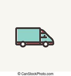 Delivery van thin line icon