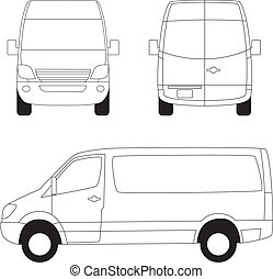 Delivery van three sides view