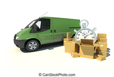 Delivery van urgent transportation - 3D rendering of a green...