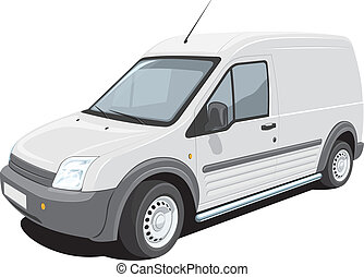 Delivery van - Vector isolated delivery van on white...