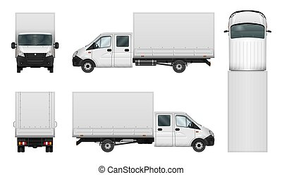 Delivery van vector template on white