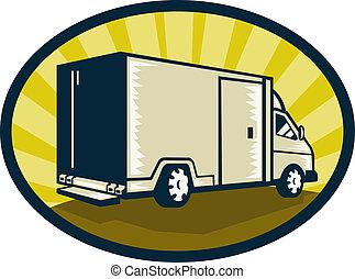Delivery van viewed from rear side set inside an ellipse