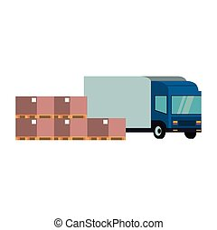 Delivery van with boxes and merchandise