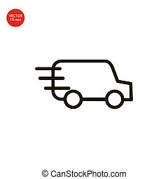 Delivery van with checkmark linear icon. Fast shipping. Thin line illustration. Freight transport. Contour symbol. Vector isolated outline drawing. Editable stroke