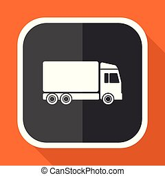 Delivery vector icon. Flat design square internet gray button on orange background.