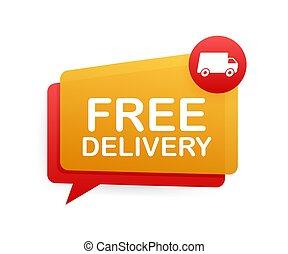 delivery., vector, libre, insignia, truck., illustrtaion., acción