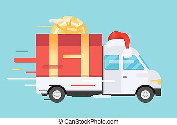 Delivery vector transport truck, van with gift box pack....