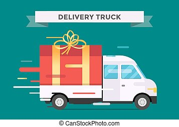 Delivery vector transport truck, van with gift box pack