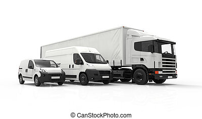 Delivery vehicles - 3D rendering of a truck, a van and a...