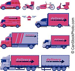 Delivery Vehicles Collection, Cargo Shipping Transportation, Scooter, Bike, Van, Drone, Truck Flat Vector Illustration