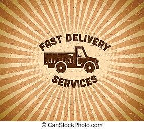 Delivery vintage label