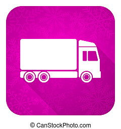 delivery violet flat icon, christmas button, truck sign