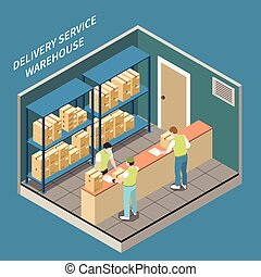 Delivery Warehouse Isometric Illustration