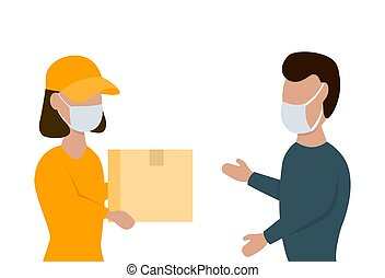 Delivery woman gives a box to man in face masks