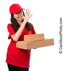Delivery woman making a joke