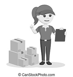 Delivery woman with clipboard and stack of boxes