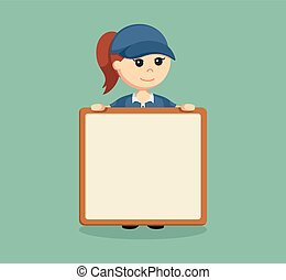 delivery woman with empty board