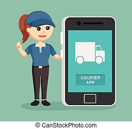 delivery woman with smartphone