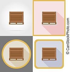 delivery wooden box flat icons vector illustration