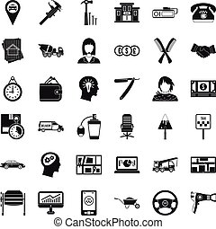 Delivery work icons set, simple style