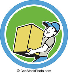 Delivery Worker Carrying Package Cartoon - Illustration of a...