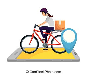 delivery worker in bicycle transport with box and smartphone