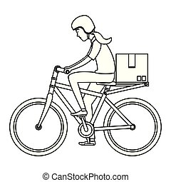 delivery worker in bicycle transport with box