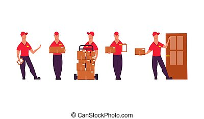 Delivery worker people illustration vector set with box service. Business man in uniform courier shipping job logistic. Cargo express character isolated. Mail container order post concept