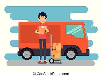 delivery worker with van