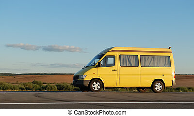 Delivery yellow minitruck