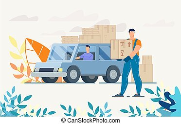 Deliveryman Driver on Truck with Parcels in Boxes