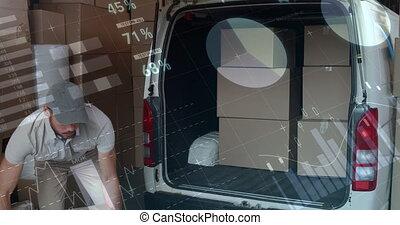 deliveryman, fourgon, 4k, boîtes, chargement