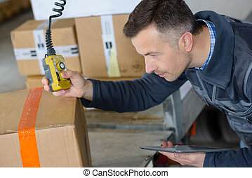 deliveryman in warehouse loading cardboard boxes into truck
