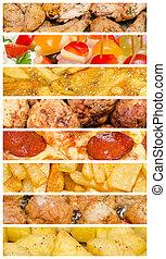 delizioso, cibo, collage