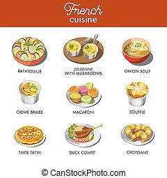 delizioso, cuisine francese, con, la maggior parte, famoso,...