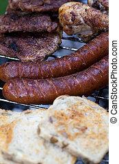 delizioso, griglia, carne cotta, barbecue