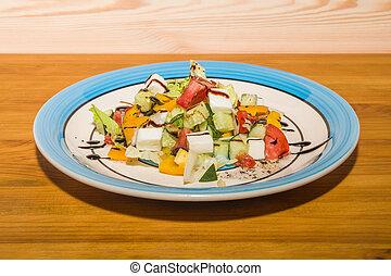 delizioso, insalata, di, verdure fresche, con, spezie, su, uno, piastra., europeo, caffè