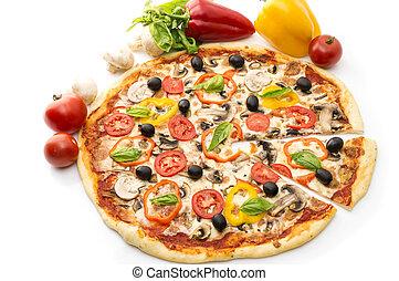 delizioso, italiano, pizze, alzato, fetta, 1, isolato, bianco, fondo., pizza prosciutto, pepe, e, ogive
