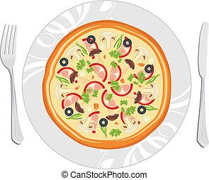 delizioso, pizza, su, il, piatto, pietanza