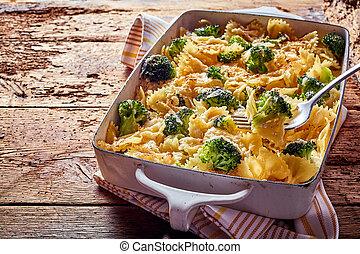 delizioso, ricetta, con, farfalle, italiano, pasta