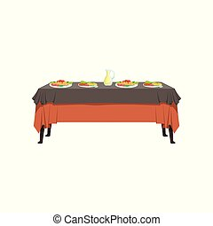 delizioso, ristorante, cibo, cibo, illustrazione, vettore, fondo, tavola, bianco, festeggiare tavola