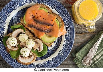 delizioso, sano, panini, per, uno, pranzo picnic